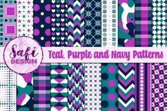 Digital Paper Backgrounds - Teal, Purple and Navy Patterns Product Image 1