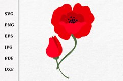Remembrance Day Poppy Flower SVG Design Cut file Product Image 2