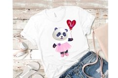 Valentines Day watercolor clipart, funny pandas Product Image 6