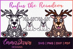 RUFUS THE REINDEER SVG CHRISTMAS MANDALA ZENTANGLE DESIGNS Product Image 1