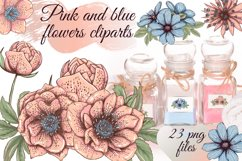 Pastel pink and blue flowers clipart, summer floral png Product Image 1
