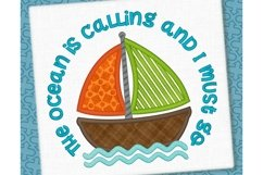 The Ocean is Calling Sailboat Applique Design 1273 Product Image 1