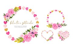 Heart Floral Pink Gold Frame Clipart, Geometric Heart Product Image 3