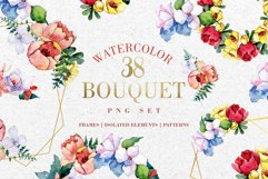 Bouquet touching feelings Watercolor png Product Image 1
