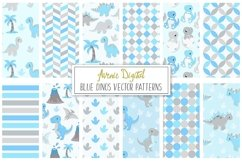 Cute Blue Dinosaur Seamless Digital Paper and Vector Patterns Product Image 1