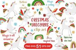 Christmas Unicorns Clipart Set Product Image 1