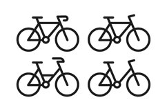 Bike icon set with line and black color vector Product Image 1