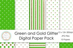 Green and Gold Glitter Digital Paper Pack Product Image 1