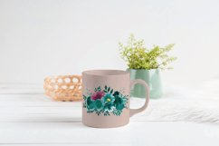 Watercolor elegant emerald green and mauve floral bouquets. Product Image 4