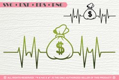Money Bag| EKG | Hearbeat | SVG DXF PNG EPS Cutting File Product Image 1