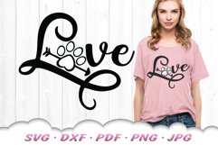 Love Paw Print SVG DXF Cut Files Product Image 1