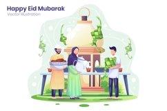 Happy Eid Mubarak greeting concept flat illustration Product Image 1