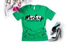 Bella Canvas 3001 Heather Kelly Flat Lay T-shirt Mockup Product Image 1