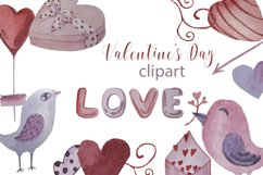Watercolor set, patterns and tags for Valentine's Day. Product Image 1