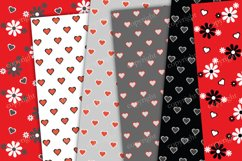 Red and gray flowers and hearts background Product Image 3