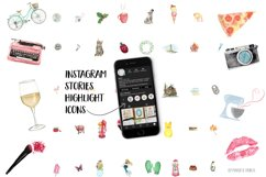 Instagram Story Highlight Icons, fun watercolor social media Product Image 1