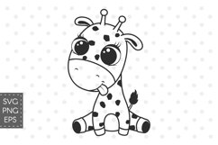Cute baby giraffe, SVG, PNG, EPS. Product Image 1