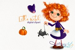 Cute Halloween Little Witch clipart. Pumpkin, fall clipart. Product Image 3