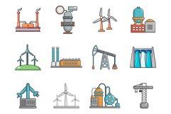 Factory icon set, cartoon style Product Image 1
