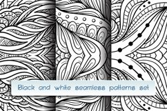 Black and white abstract doodles patterns mini-set Product Image 1
