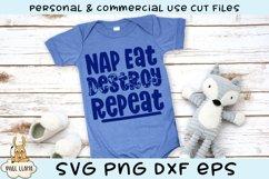 Nap Eat Destroy Repeat Kids Grunge Distress SVG Product Image 1