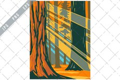 Sunlight Through Giant Sequoia Trees of Sequoia National WPA Product Image 1