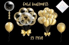 Gold Balloons Clipart Product Image 1