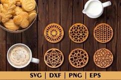 Bundle of Decorative Circle Coasters. Coaster SVG. Laser cut Product Image 2