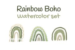 Neutral Rainbow Boho Watercolor Clipart Product Image 4