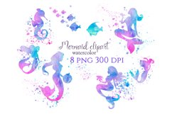 Mermaid clipart, mermaid sublimation download, watercolor Product Image 1