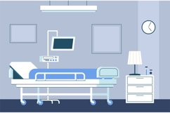Hospital room interior. Modern intensive therapy ward with b Product Image 1