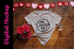 Valentine Mockup - Grey V neck T-shirt - Downloadable JPEG Product Image 1