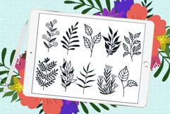 Doodle leaves procreate brushes, foliage stamps Product Image 3