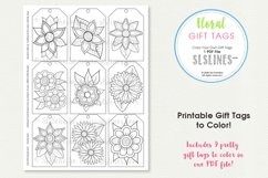 Retro Pop Flower Gift Tags to Color, Set of 9 Product Image 2