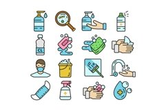 16 Hygiene Icons, colored and outline style Product Image 2