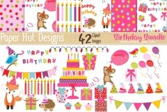 Birthday Girl Clipart and Digital Papers Set Product Image 1