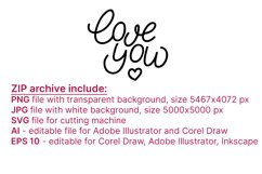 Love you. Hand letttering phrase, vector. SVG Product Image 3