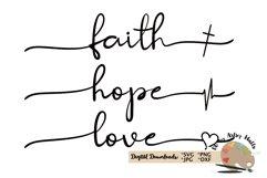 faith hope love svg Christian faith silhouette cricut file Product Image 1