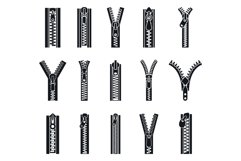 Clothing zipper icon set, simple style Product Image 1