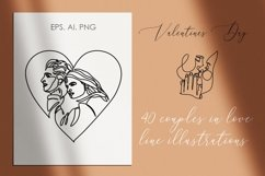 40 couple vector line illustrations. Couple EPS.AI.PNG. SVG Product Image 6