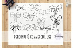 Handdrawn bow clipart set - doodle ribbon clipart Product Image 4