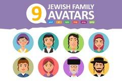 Jewish avatars family cartoon flat Product Image 1