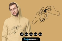 Hand with Solar System for T-Shirt Design Product Image 1