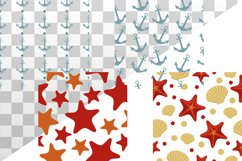 Vector illustration of sea shell, star and anchor. Patterns Product Image 5