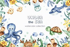 Under the sea. Watercolor clipart, frames, cards, patterns Product Image 1