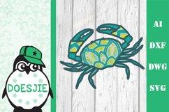 Layered Crab SVG multi layer mandala sea animal nautical 3d Product Image 1