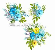 Watercolor flowers clipart design blue and yellow invite Product Image 3