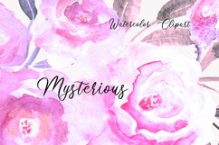 Purple Pink Violet Watercolor Flower Clipart Set Product Image 3