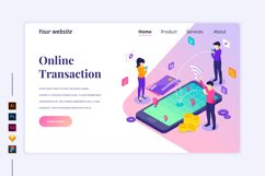 Isometric Online transaction Landing page illustration Product Image 1