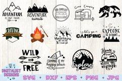 Happy Camper SVG Bundle, 14 Camping SVG Designs Product Image 1